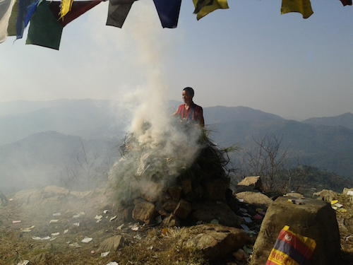 Juniper and different herbs and plants are burned during Sang Chod – ritual