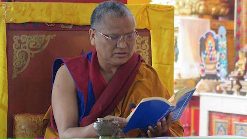 Menri Ponlop Thinley Nyima Rinpoche giving lung for the three heart mantras of Bon